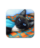 Rubber coasters set of 4, Cat Coasters, Cat 634 siamese art painting by ... - $13.99