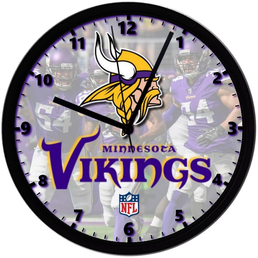 "Primary image for Minnesota Vikings LOGO Homemade 8"" NFL Wall Clock w/ Battery Included"