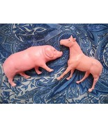 VINTAGE IRWIN HOLLOW PLASTIC FARM ANIMALS: HORSE, PIG (FROM SEPARATE SETS) - $9.99