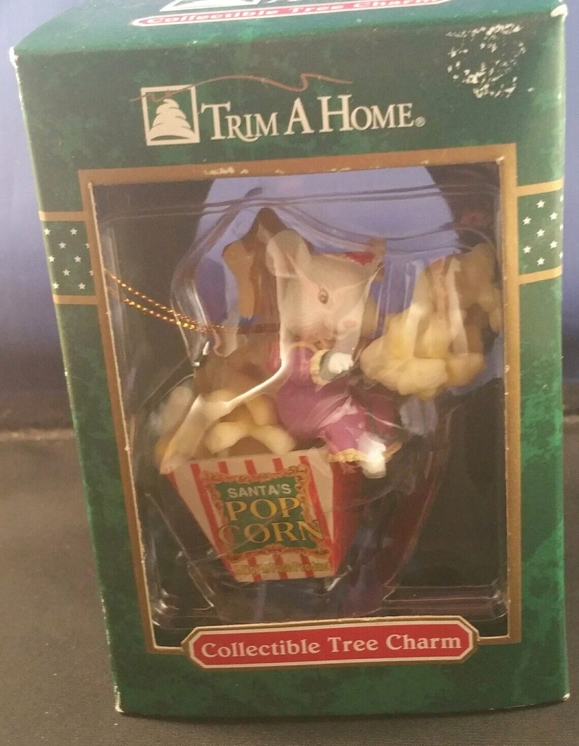 Vintage Trim a Home Mouse Santa's Popcorn Tree Charm Ornament KMart NIP