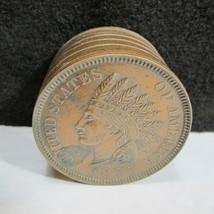 Vintage 1877 Indian Head Penny Shape Embossed Metal Coin Piggy Bank Base... - $19.95