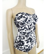 New Anne Cole  Strapless Bandeau 1 PC One Piece Swimsuit Sz 8 Black Whit... - $33.61