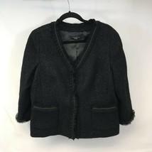 Talbots Womens Blazer Jacket Black Hook And Eye Pockets Ruffle V Neck 12... - $36.62