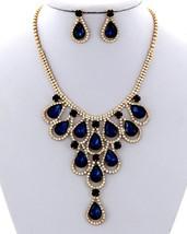 New Blue & Clear Rhinestone Fashion Necklace Set  - $25.00