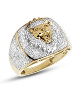 Men's Aggressive Lion Ring 14k Yellow Gold Plated 925 Silver Round Sim D... - $150.00