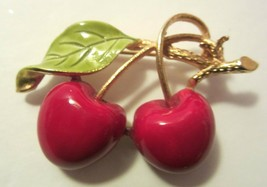 Vintage Red Green Enamel Cherries Brooch Pin on Gold Tone Branch Setting - $17.99
