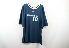 e0254fa5c5 Vintage 90s Umbro Mens Large Short Sleeve Futbol Soccer Jersey Navy Blue...  -