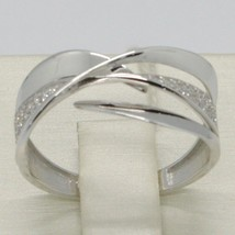 SOLID 18K WHITE GOLD BAND ZIRCONIA RING, ONDULATE, WAVE, LUMINOUS, MADE IN ITALY image 1