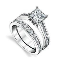 Lab Created Princess White Gold 925 Silver Engagement Ring Wedding Set - $73.85