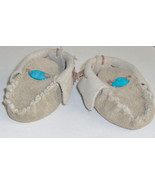 American Made! Brown Leather Baby Moccasins with MOP, First infant Mocca... - $30.95