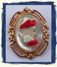 Vintage Large Artsy Cameo Woman In Red Hat Brooch Pin Porcelain Look Res... - $24.99