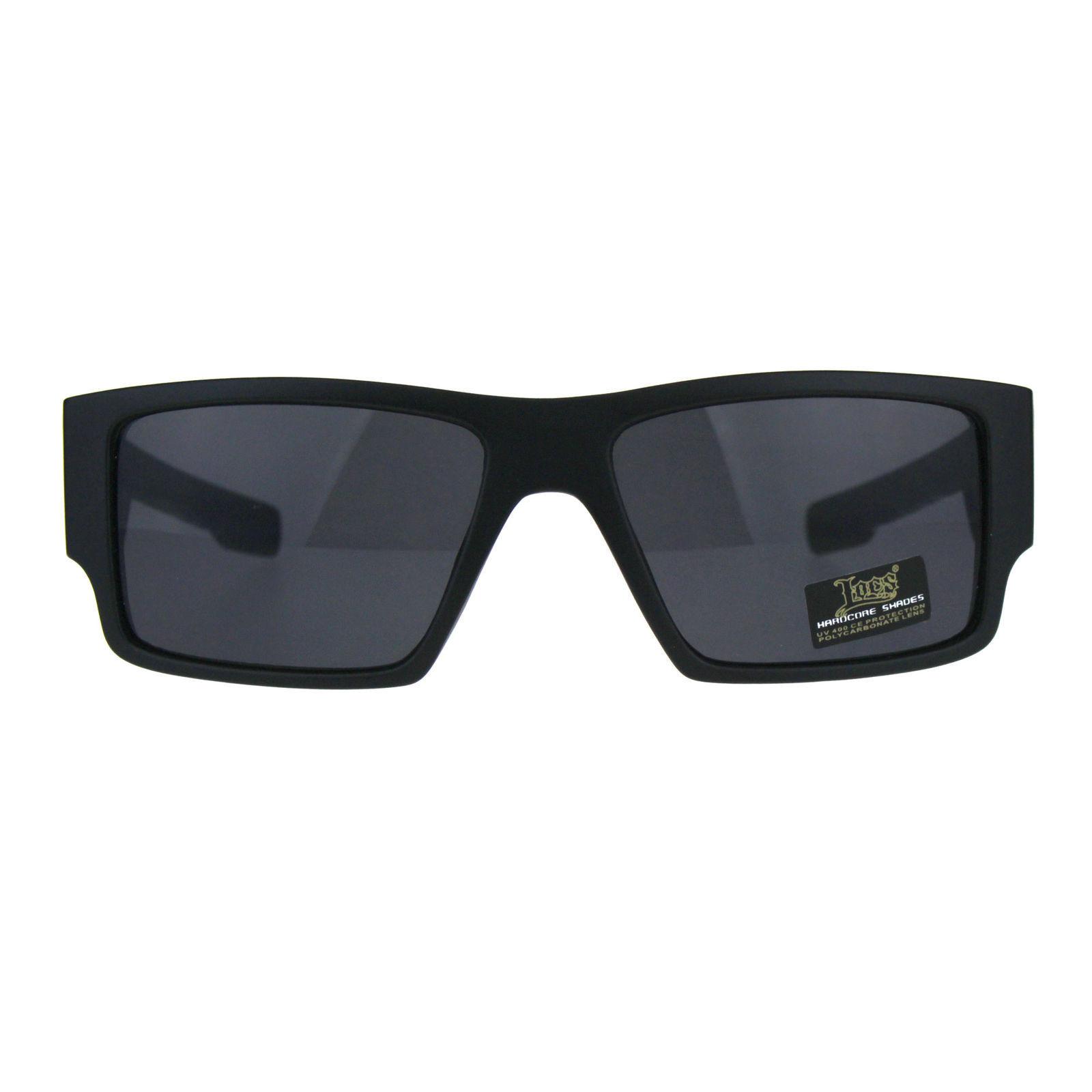 348909d00e4 Locs Mens Gangster Skull Print Arm Plastic Rectangular Sunglasses All Black