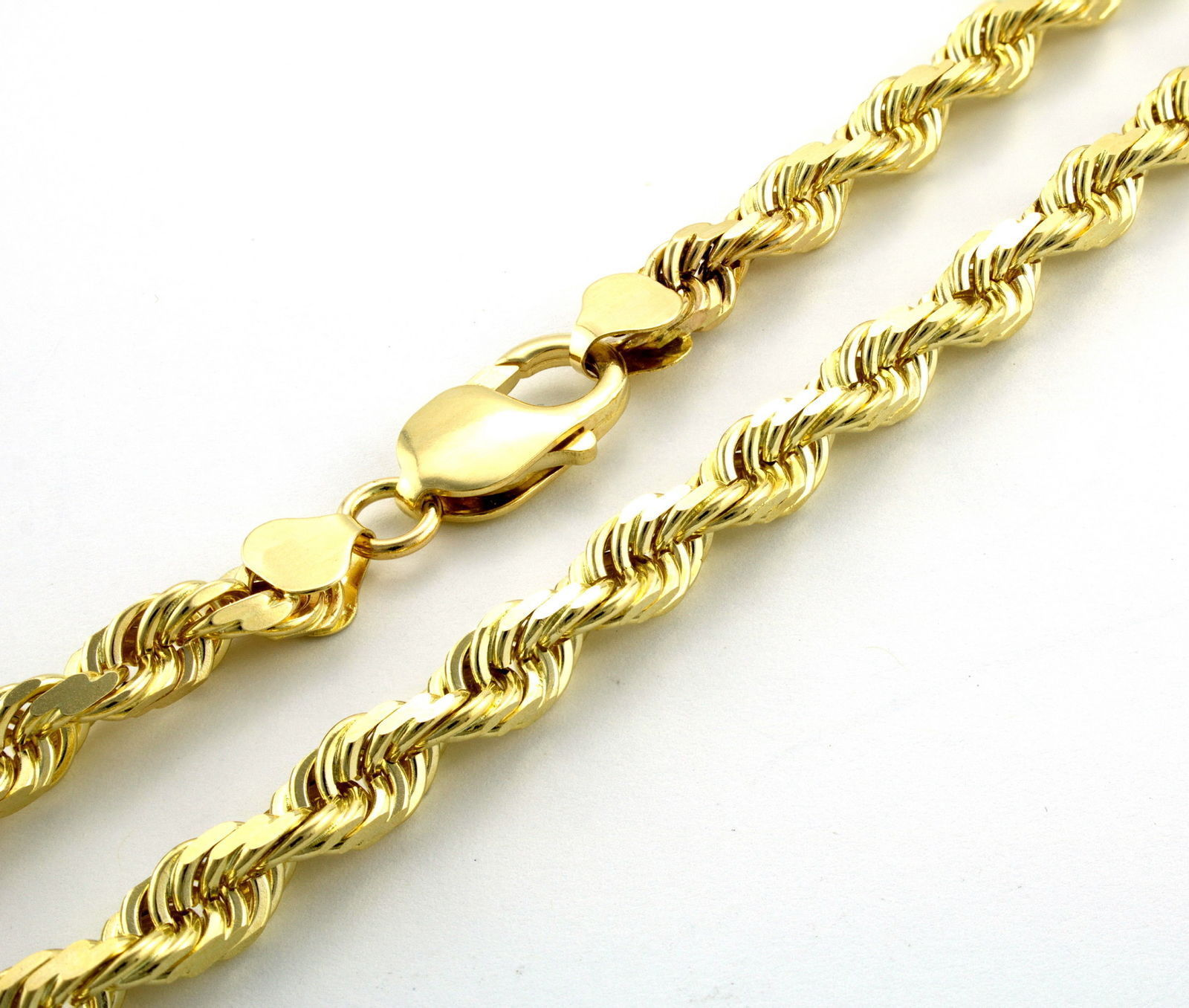 """14K Yellow Gold 5mm Thick Rope Link Chain Necklace 18"""" - Real gold image 2"""