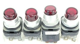 (4) ALLEN BRADLEY 800T-PT16 PUSHBUTTONS RED SER. N W/ 120V COIL & 800T-XA SER. C
