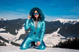 Light Blue Metallic Skianzug Womens Winter Warm Snow Suit Set Ski Glanz ... - $269.00