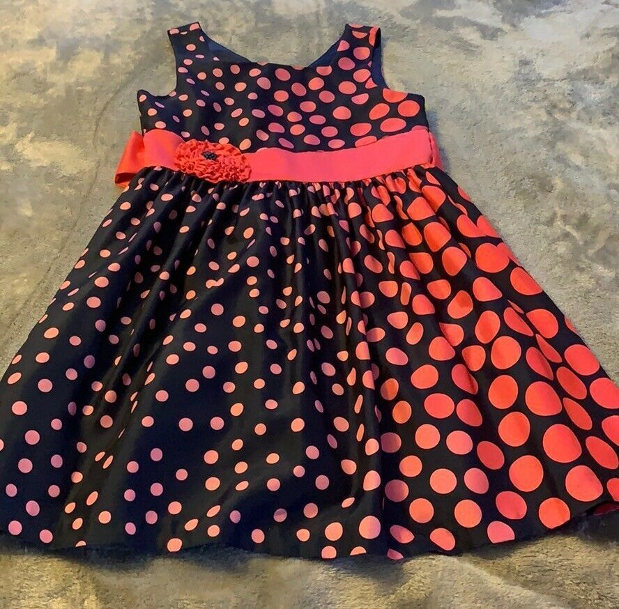 Primary image for Girls Size 16 Bonnie Jean Navy Pink Polka Dot Dress Party Church Easter EUC