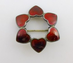 DENMARK Red Guilloche Enamel Sterling Silver Hexagon HEARTS Pin - Volmer... - $65.00