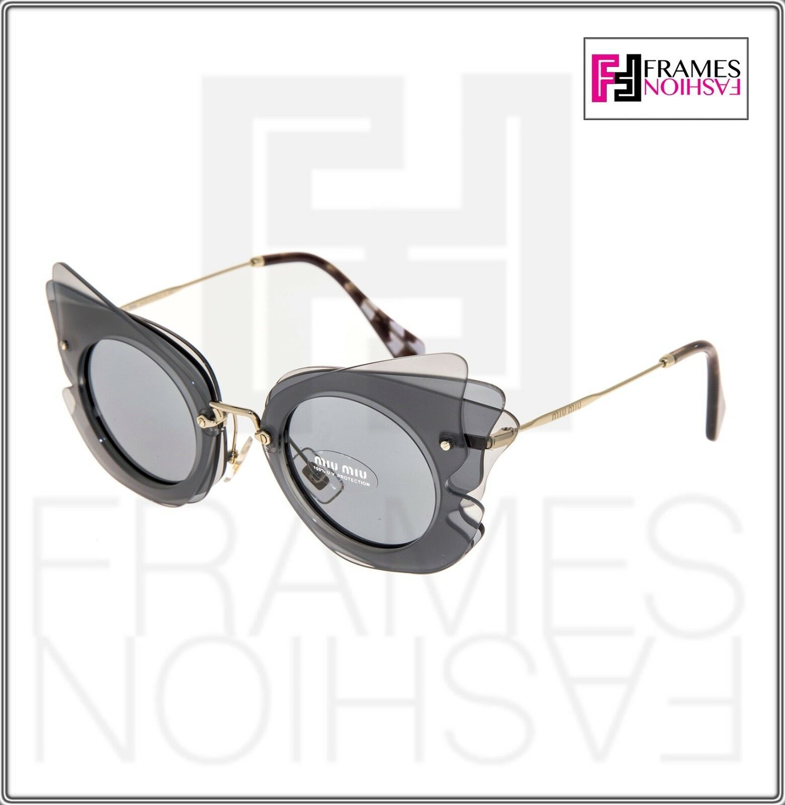 MIU MIU Overlapping Game 02S Grey Silver Mirrored Butterfly Sunglasses MU02SS
