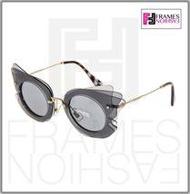 MIU MIU Overlapping Game 02S Grey Silver Mirrored Butterfly Sunglasses MU02SS image 7