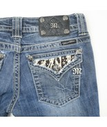 Miss Me Dark Wash Embellished Flap Pocket Boot Cut Jeans Womens 27 27x33 - $39.50
