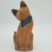 """Vintage Wooden Cat Figurine Hand Carved Sitting Kitty Large 15"""" Tall - $14.99"""