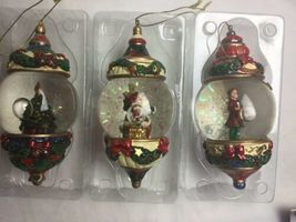 Kirkland Signature Waterglobe Ornaments Lot of 3 Christmas Tree Santa Drummer image 6
