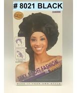 QFITT SILKY & SOFT FASHION TIE BONNET #8021 BLACK SATIN MATERIAL BONNET - $2.96