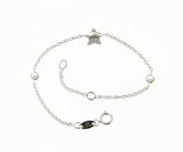 18K WHITE GOLD BRACELET FOR KIDS WITH STAR AND CUBIC ZIRCONIA MADE IN ITALY image 1