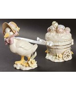 Lenox Easter Blossoms Duck Cart 3 Pc NIB COA - $95.00