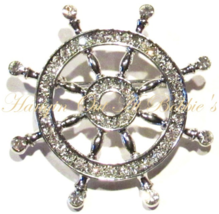 Captain's Ship Wheel Pin Brooch Clear Crystal Silver Tone Metal Nautical - $24.99