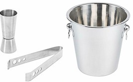 Stainless Steel Silver Bar Set of 3 Pieces, Bar Tools, Bar Accessories S... - $65.95