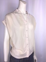 Women's B_envied Blouse w Faceted Buttons Small Cream Pretty Casual Comf... - $7.05