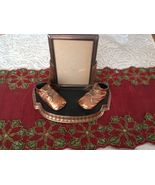 2 Antique Bronze Metal Baby Shoes Picture Photo Frame  Desk Tray Holder ... - $197.01