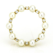 14k Yellow Gold Cultured Pearl Diamond Circle Brooch - $475.20