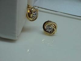 14k 14 Diamond Center Love Knot Stud Earrings 14kt Yellow Gold Vintage - $247.49
