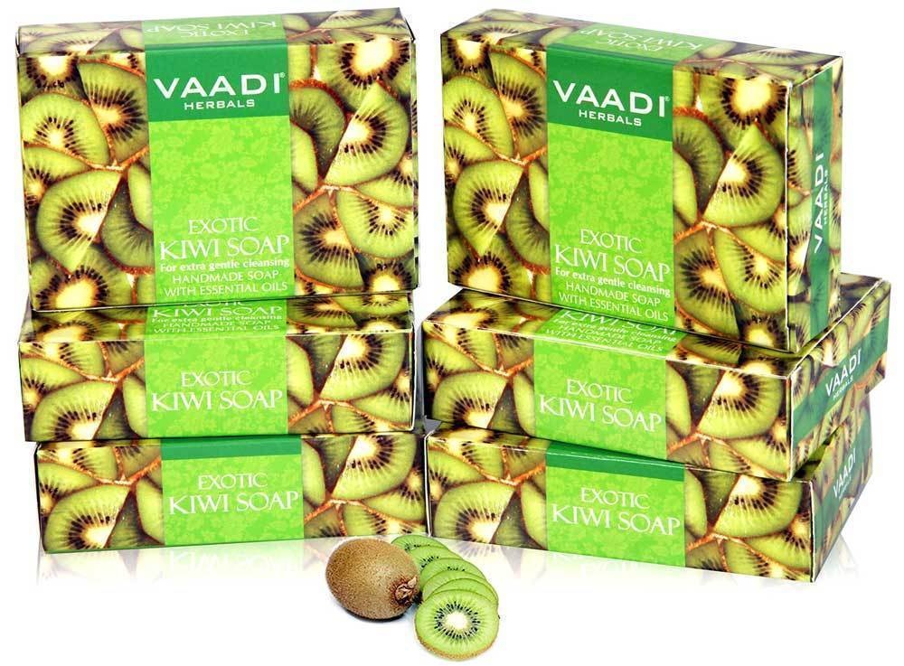 Vaadi Herbals Super Value Exotic Kiwi Soap with Green Apple 75gm Pack Of 6