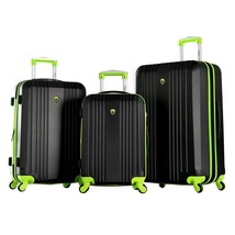 Black Lime 3-Piece Expandable Lightweight Hard Case Plastic Luggage Set ... - $346.49