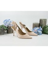 Tory Burch Penelope Goan Sand Satin Leather Jewel Sling Back 100MM Heels... - $192.56