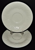 2 Gibson Four Seasons Saucers White Embossed Grapes Roses Fruit Rimmed  - $19.79