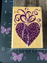Stampcraft Rubber Stamp Fancy Heart Strings Ribbon Wood #A129 - $1.73