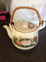 Vintage Japanese Flower Teapot Pottery with Lid and Wood Handle Very Rar... - $49.49