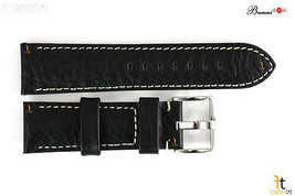 Bandenba 24mm Original Schwarz Texturiert Leder Panerai Weiß Gesteppt - $39.26