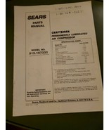 Sears parts manual craftsman Permanently Lubricated Air Compressor 919 1... - $10.86