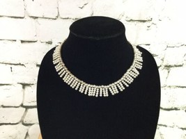 Napier Choker Necklace Silver Toned Beads Fringe Look - $14.84
