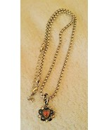 """Brighton 18"""" Silver Necklace Pink Crystal Heart Flower Charm - $34.65"""