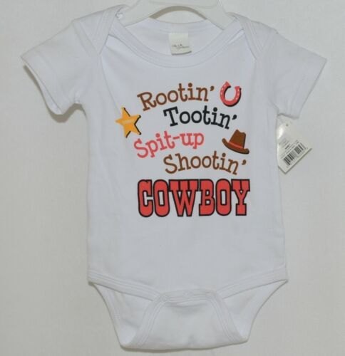 Ganz Ella Jackson CA50659 White Diaper Shirt One Piece 0 to 6 months Cowboy