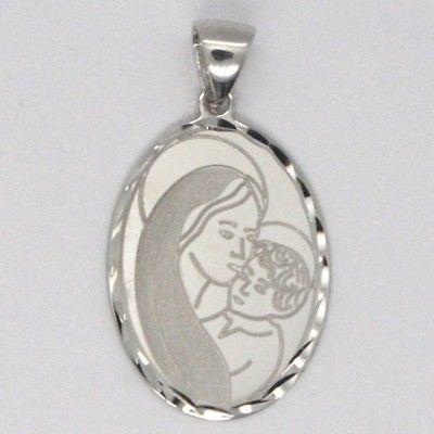 Pendant Medal White Gold 18k, Virgo Mary Jane & Jesus, Oval with Frame