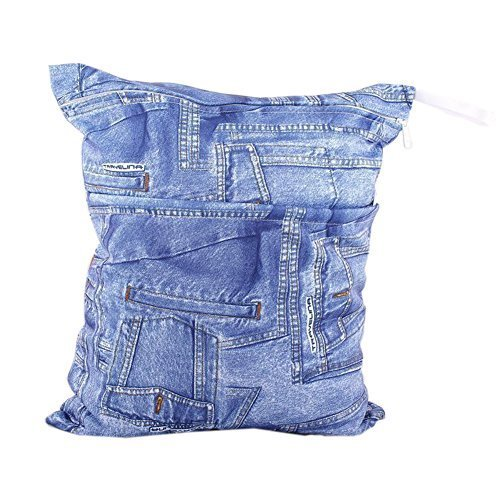 "Jean Pattern Wet Bags Waterproof Diaper Bag Multi-function Nappy Bag-14""11"""