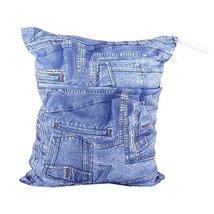 "Jean Pattern Wet Bags Waterproof Diaper Bag Multi-Function Nappy Bag-14""11"""