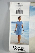 Calvin Klein Vogue Sewing Pattern Dress 1589 Sizes 8 - 10 - 12 Uncut - $7.68